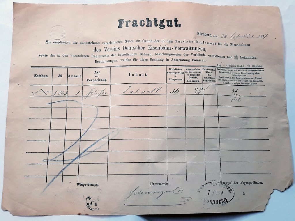 Historisches Bahndokument vom 26. September 1877